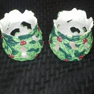 Two Christmas Holly Porcelain Candle Holders